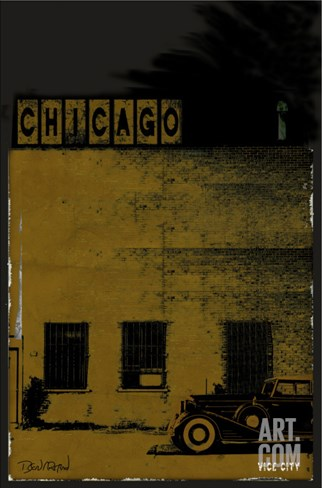Vice City - Chicago grey Stretched Canvas Print