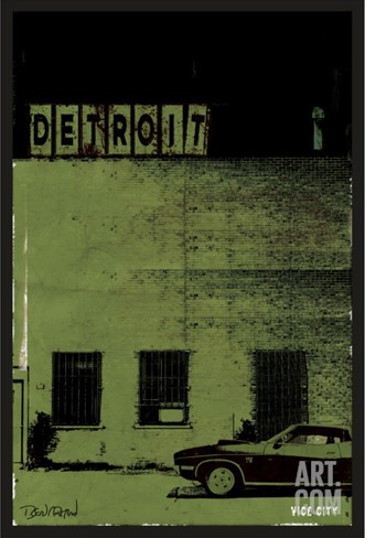 Vice City-Detroit Stretched Canvas Print