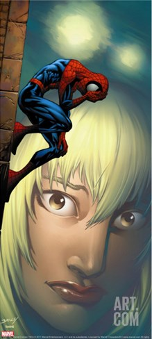 Ultimate Spider-Man No.65 Cover: Spider-Man, Stacy and Gwen Fighting Stretched Canvas Print
