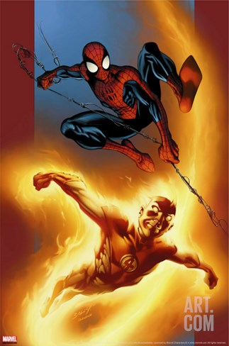 Ultimate Spider-Man No.69 Cover: Spider-Man and Human Torch Stretched Canvas Print