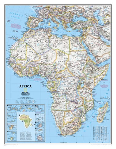 Africa Political Map Stretched Canvas Print