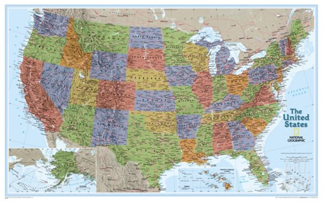 United States Explorer Map Stretched Canvas Print