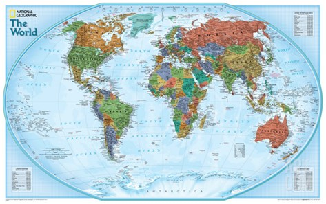 World Explorer Map Stretched Canvas Print