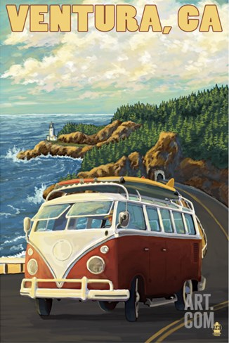 Ventura, California - VW Van Drive Stretched Canvas Print