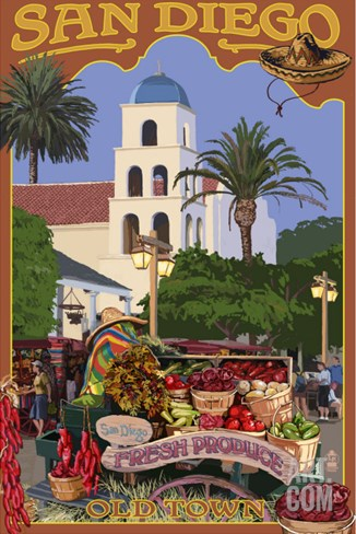 San Diego, California - Old Town Stretched Canvas Print