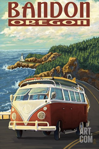 Bandon, Oregon - VW Van Coast Scene Stretched Canvas Print