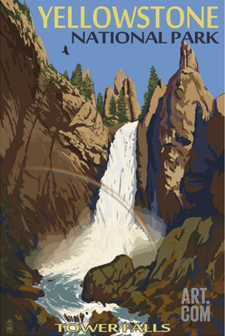 Tower Falls - Yellowstone National Park Stretched Canvas Print