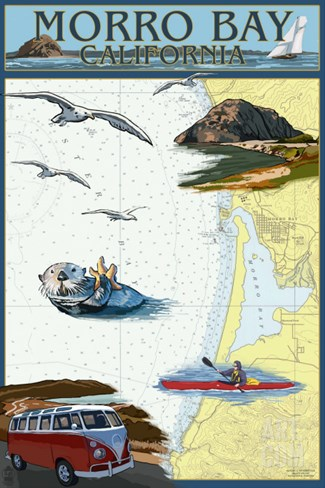 Morro Bay, California - Nautical Chart Stretched Canvas Print
