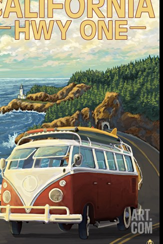 California Highway One Coast VW Van Stretched Canvas Print