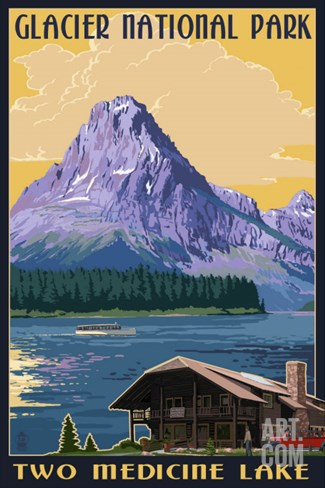 Two Medicine Lake - Glacier National Park, Montana Stretched Canvas Print