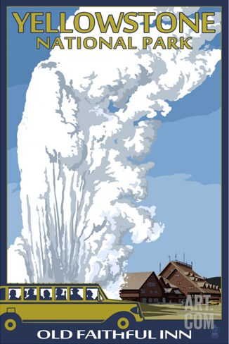 Old Faithful Lodge and Bus - Yellowstone National Park Stretched Canvas Print