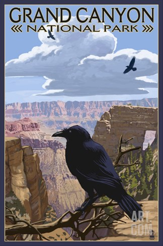 Grand Canyon National Park - Ravens and Angels Window Stretched Canvas Print