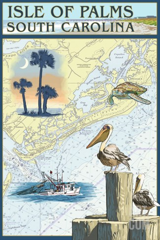 Isle of Palms, South Carolina - Nautical Chart Stretched Canvas Print