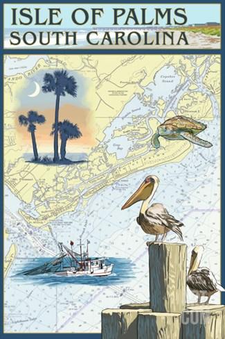 Isle of Palms, South Carolina - Nautical Chart Stretched Canvas Print
