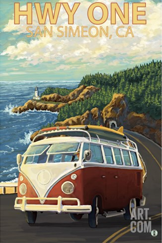San Simeon, CA - VW Van Coastal Drive Stretched Canvas Print