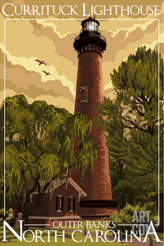 Currituck Lighthouse - Outer Banks, North Carolina Stretched Canvas Print