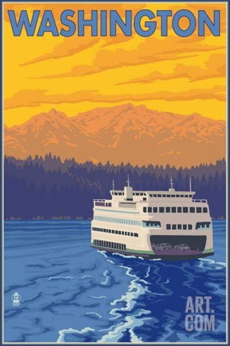 Washington - Ferry and Mountains Stretched Canvas Print