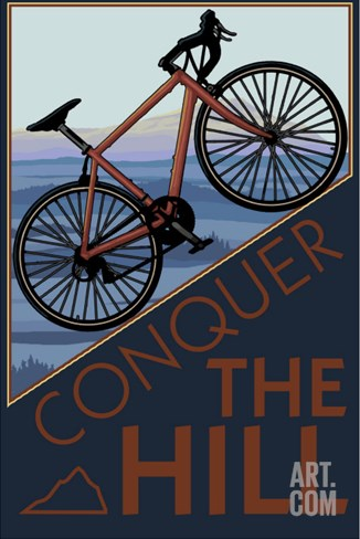 Conquer the Hill - Mountain Bike Stretched Canvas Print