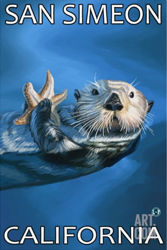San Simeon, CA - Sea Otter - Stretched Canvas Print
