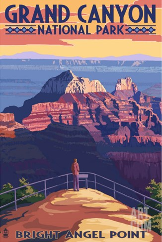 Grand Canyon National Park - Bright Angel Point Stretched Canvas Print