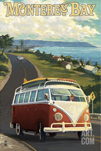 Monterey, California - VW Van Stretched Canvas Print