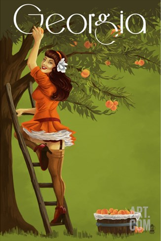 Georgia Peach Orchard Pinup Girl Stretched Canvas Print