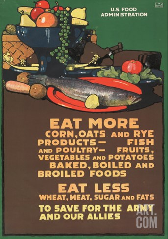 """Eat More Corn, Oats and Rye?To Save For the Army and Our Allies"", 1918 Stretched Canvas Print"