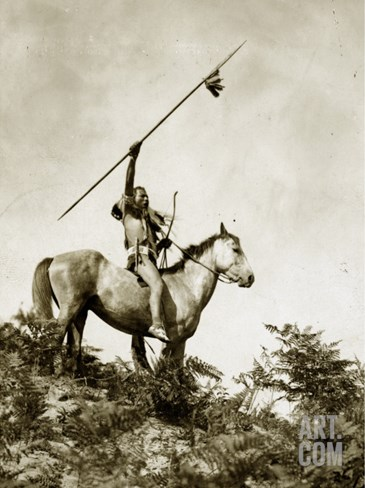 The Challenge (Yakama Warrior on Horseback, 1911) Stretched Canvas Print
