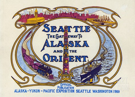 Seattle, the Gateway to Alaska and the Orient, 1909 Stretched Canvas Print