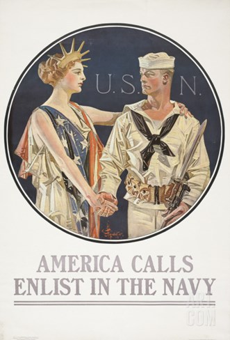 """America Calls, Enlist in the Navy"" Poster, 1917 Stretched Canvas Print"