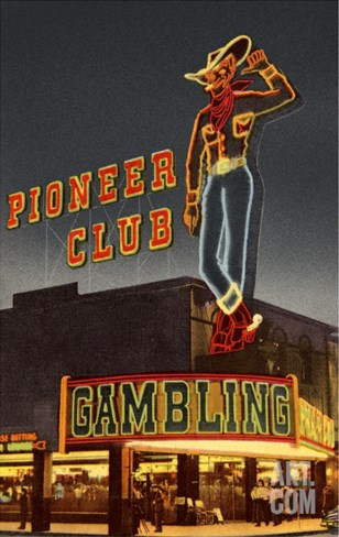 Neon, Pioneer Club, Las Vegas, Nevada Stretched Canvas Print