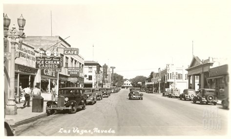 Early Street Scene of Las Vegas, Nevada Stretched Canvas Print