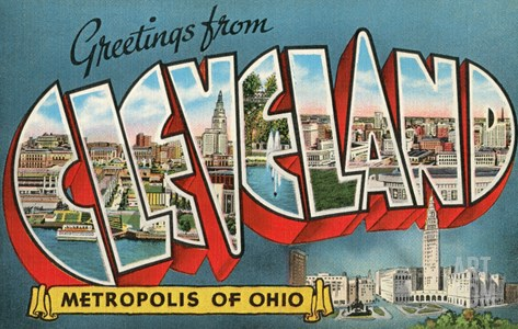 Greetings from Cleveland, Ohio Stretched Canvas Print
