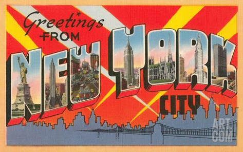 Greetings from New York City Stretched Canvas Print
