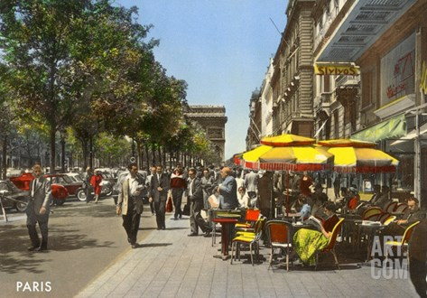 Sidewalk Cafes, Paris Stretched Canvas Print