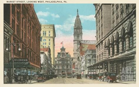 Market Street, Philadelphia, Pennsylvania Stretched Canvas Print