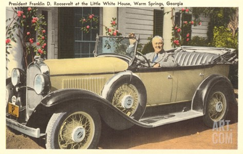 Franklin Roosevelt in Vintage Car, Warm Springs, Georgia Stretched Canvas Print