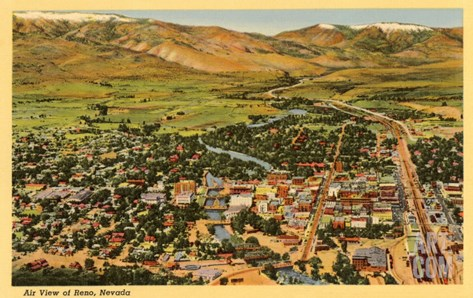 Aerial View, Reno, Nevada Stretched Canvas Print