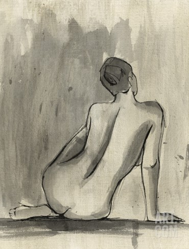Sumi-e Figure II Stretched Canvas Print