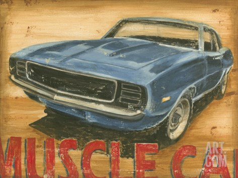 Vintage Muscle I Stretched Canvas Print