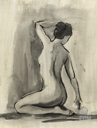 Sumi-e Figure I Stretched Canvas Print