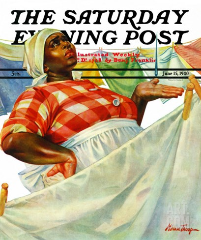 """Rain on Laundry Day,"" Saturday Evening Post Cover, June 15, 1940 Stretched Canvas Print"