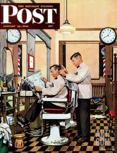 """Barber Getting Haircut,"" Saturday Evening Post Cover, January 26, 1946 Stretched Canvas Print"