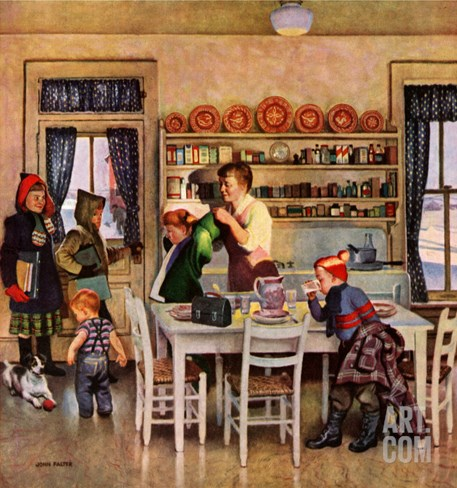 """Getting Ready for School,"" February 26, 1949 Stretched Canvas Print"