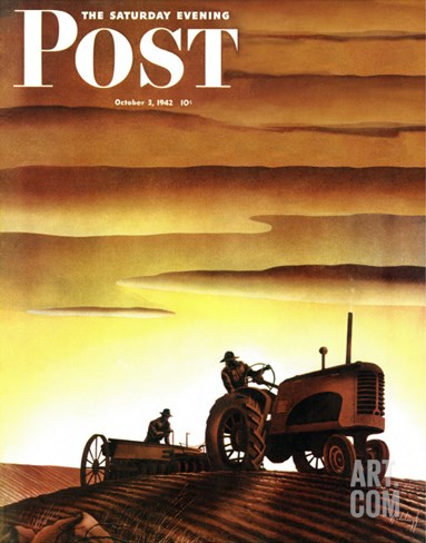 """Tractors at Sunset,"" Saturday Evening Post Cover, October 3, 1942 Stretched Canvas Print"