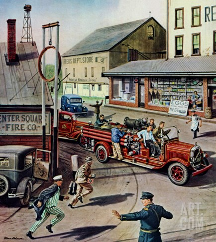 """Small Town Fire Company,"" May 14, 1949 Stretched Canvas Print"