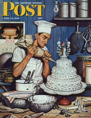 """Icing the Wedding Cake,"" Saturday Evening Post Cover, June 16, 1945 Stretched Canvas Print"