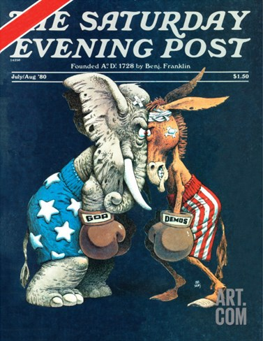 """Democrats vs. Republicans,"" Saturday Evening Post Cover, July/Aug 1980 Stretched Canvas Print"