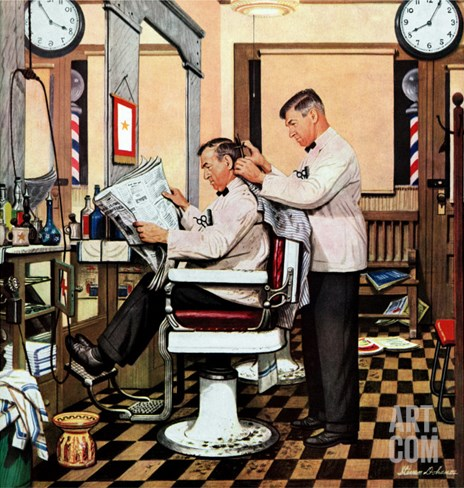 """Barber Getting Haircut,"" January 26, 1946 Stretched Canvas Print"
