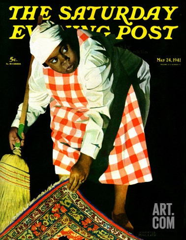 """Sweep it Under the Rug,"" Saturday Evening Post Cover, May 24, 1941 Stretched Canvas Print"